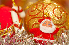 Santa and bauble ornaments Royalty Free Stock Photography