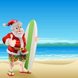 Santa on the beach. An illustration of Santa Claus standing in shorts and sandals on a beach holding a surfboard and doing a thumbs up Stock Images