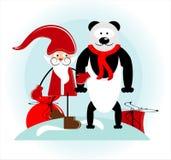 Santa and bear. With gift Stock Image
