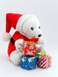 Santa bear and christmas presents Stock Photo