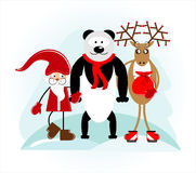 Santa with bear and deer. In holiday Royalty Free Stock Photo