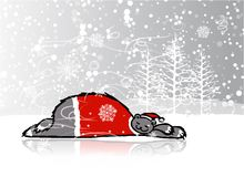 Santa bear sleeping, sketch for your design Royalty Free Stock Photo