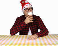 Santa and beer Stock Image