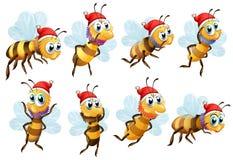 Santa bees. Illustration of the Santa bees on a white background stock illustration
