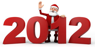 Santa behind 2012 numbers. Cartoon Santa Claus waving from  behind 2012 numbers - high quality 3d illustration Royalty Free Stock Images