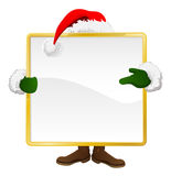 Santa behind Christmas sign Royalty Free Stock Photography