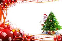 Santa behind christmas tree with deer Stock Image