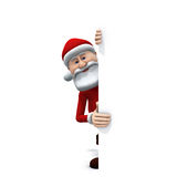 Santa behind sign. 3d rendering/illustration of a cartoon santa behind a big sign smiling at you Royalty Free Stock Photos