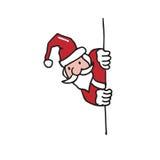 Santa behind the wall cartoon drawing Stock Photography