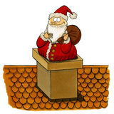 Santa being stuck in the chimney Stock Photo