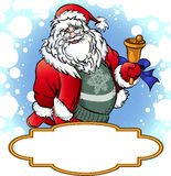 Santa with Bell. Greeting card with ringing Santa Claus and board for message drawn in a comics style stock illustration