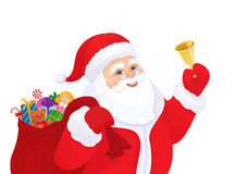 Santa with a bell. Illustration of Santa Claus ringing the bell, isolated on white Royalty Free Stock Photos