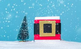 Santa belt gift box stock photos