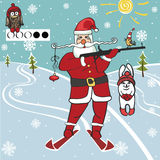 Santa biathlete shoots.Humorous illustrations Stock Photo