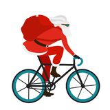 Santa bicycle delivery messenger red with gifts. Santa bicycle delivery logistics courier. Bike messenger bearded male character hipster style. Red costume Stock Photos