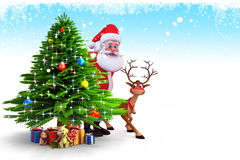 Santa with a big christmas tree and deer Royalty Free Stock Image