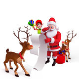 Santa with a big gift list Royalty Free Stock Images