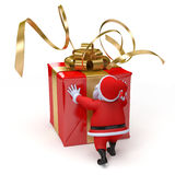 Santa with big present Royalty Free Stock Photo