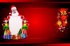 Santa with big sign near elves Stock Images