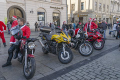 Santa bikers Royalty Free Stock Photography