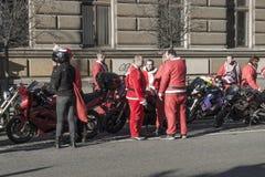 Santa bikers Royalty Free Stock Photo