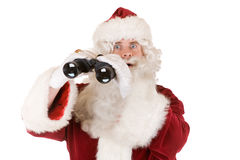 Santa with binoculars Royalty Free Stock Image