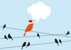 Santa bird on wire, vector Stock Photography