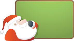 Santa and blank green board Royalty Free Stock Image