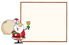 Santa with a blank sign Royalty Free Stock Image