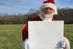 Santa With a Blank Sign 2 Stock Photo