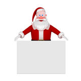 Santa with Blank sign. 3d illustration Stock Photos