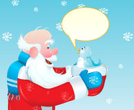 Santa and the blue bird Royalty Free Stock Image