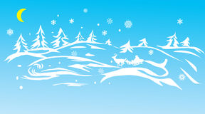 Santa in blue winter forest Stock Images