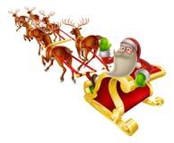Santa bożych narodzeń sanie Fotografia Royalty Free