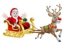 Santa bożych narodzeń sanie ilustracja wektor