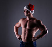 Santa bodybuilder Royalty Free Stock Photos