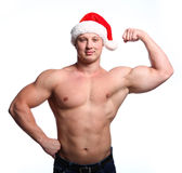 Santa bodybuilder Royalty Free Stock Photo