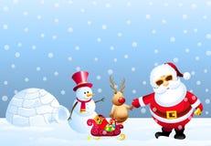 Santa, bonhomme de neige, cerfs communs de neige et igloo Photos stock