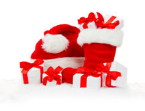 Santa Boot, Cap and Gifts Stock Images