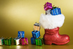 Santa Boot with Gifts Royalty Free Stock Image