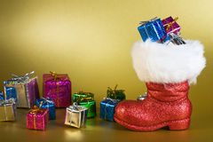 Santa Boot with Gifts Royalty Free Stock Photos