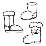 Santa boot icons set Stock Photo