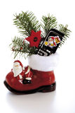 Santa boot with mobile-phone Stock Images