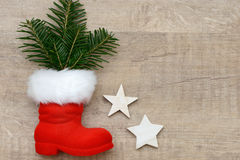 Santa boots with fir Royalty Free Stock Photo