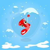 Santa Boots Hang on Icicle Cartoon Christmas Stock Photo