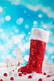 Santa boots isolated blue background royalty free stock photos