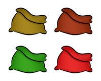 Santa, borsa dei soldi, Natale svuota l'insieme dell'icona del sacco, simbolo, progettazione Illustrazione di vettore di inverno  Immagini Stock