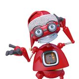 Santa Bot Thinking About In White Background Stock Images