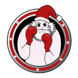Santa boxing emblem Royalty Free Stock Photography