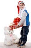 Santa boy. A celebratory card. Studio. Isolated Royalty Free Stock Images